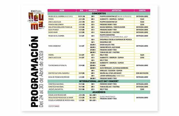 Cartel Festival Internaciona de Jazz de la Ciudad de México Neuma